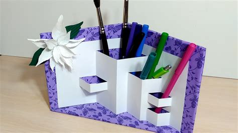 How To Make Pen Stand Using Paper - pencil holder diy paper organizer