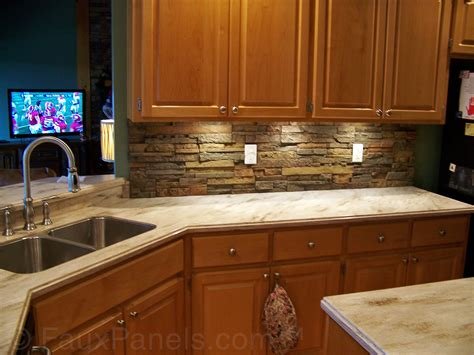 Stone Veneer Kitchen Backsplash by Stone Backsplash Creative Faux Panels Veneer Picture Get
