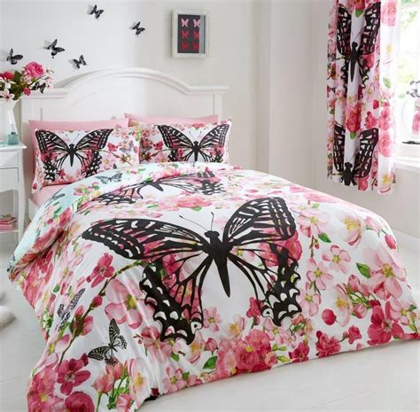 Modern Quilt Set by Floral Butterfly Modern Duvet Quilt Cover Complete Set