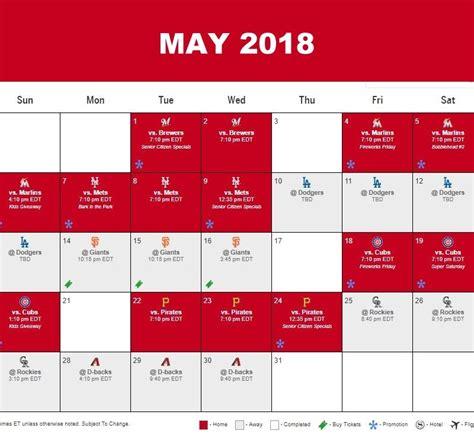 Cincinnati Reds Schedule 2018 Printable