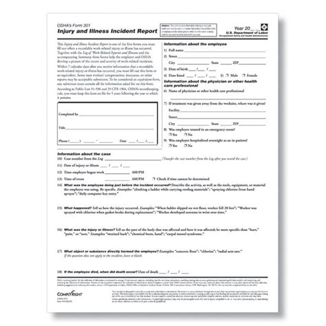 osha incident report form template osha form 301 osha recordkeeping forms