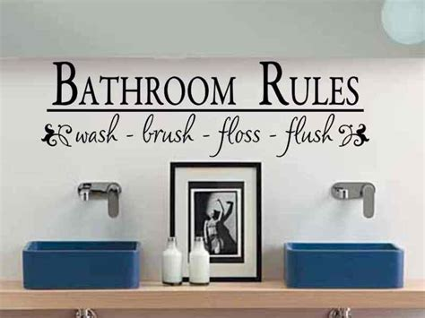 bathroom rules decal bathroom wall decal bathroom rules wash brush floss flush bath