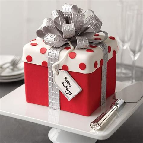 christmas gift box fondant cake with bow recipe