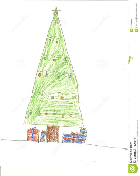 christmas tree and presents drawing royalty free stock