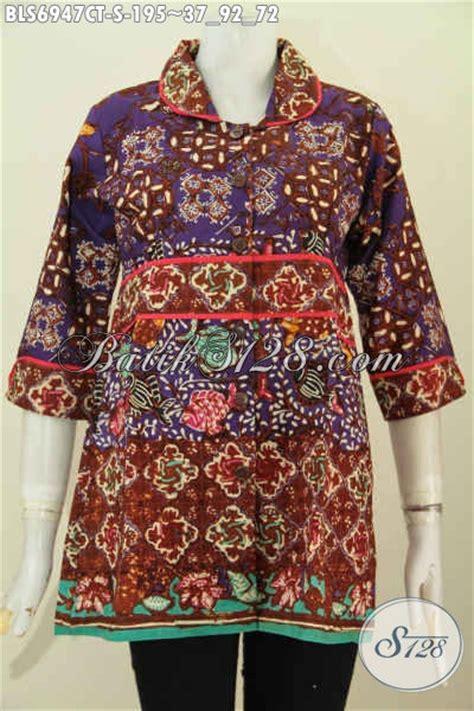 Baju Wanita Keren grosir baju batk wanita kerja blus batik keren modelkerah plisir kain polos modis buat ke