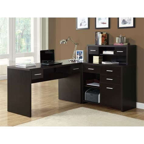 Home Office L Shaped Desk With Hutch Hollow L Shaped Home Office Desk With Hutch In Cappuccino I 7018
