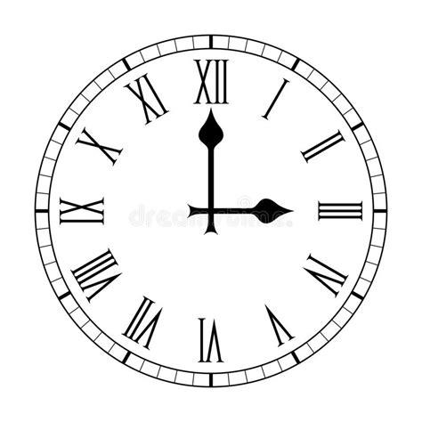 plain roman numeral clock face on white stock vector