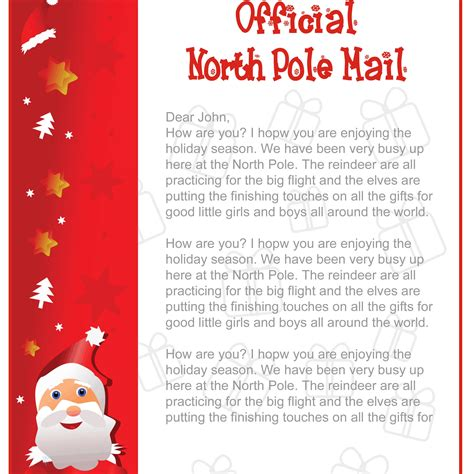 printable return letter from santa printable letters from santa free search results