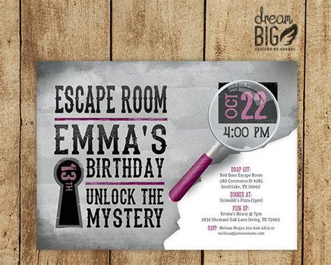 printable escape room invitations escape room invite gray girls or boys birthday pink