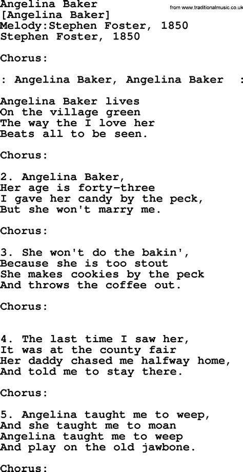 An American Song American Song Lyrics For Baker With Pdf