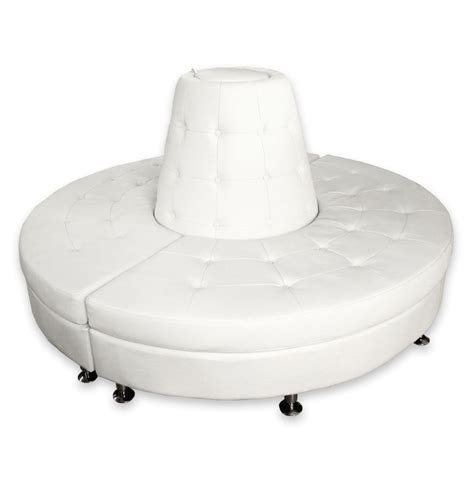 PRI Productions Event Rental Products   Furniture   White Leather Round Banquette