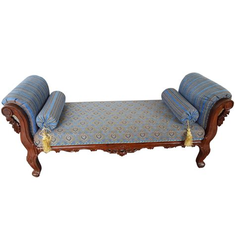 settee chaise lounge solid sheesham wood handcrafted antibes backless chaise