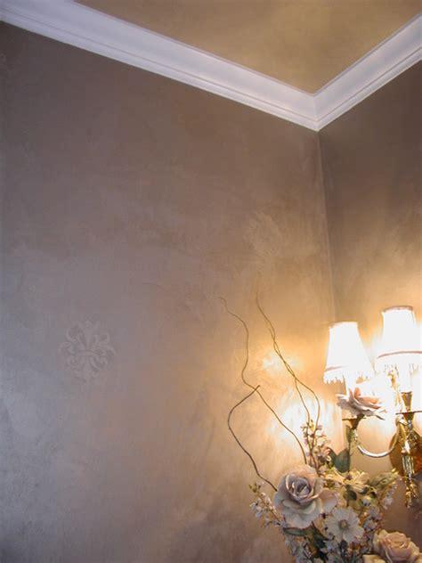troweled metallic plaster powder room ceiling  walls