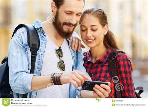 Phone For Couples Pleasant Holding Mobile Phone Stock Photo Image