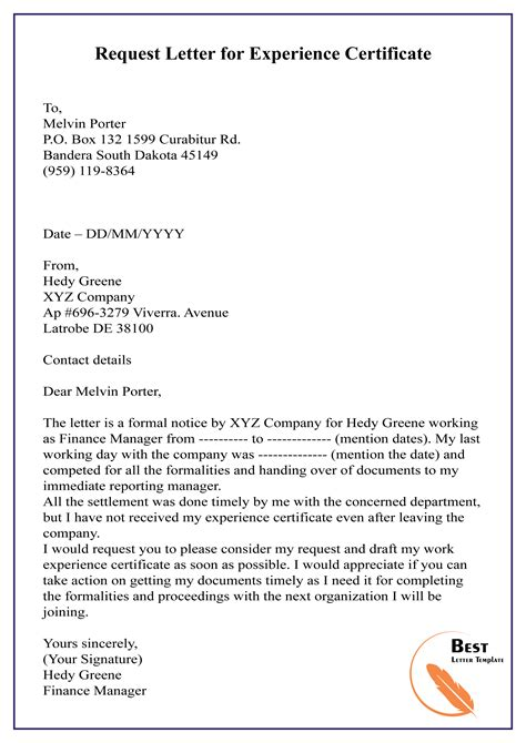 request letter experience certificate letter