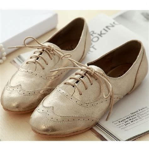 silver oxford shoes womens gold silver leather oxford flats lace up shoes