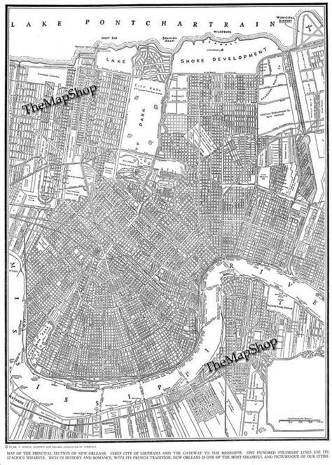 printable maps new orleans 1944 map of new orleans giant print would look fabulous