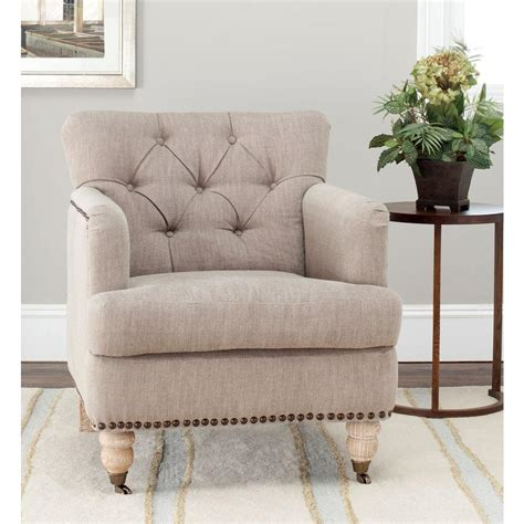 Safavieh Colin Chair by Safavieh Colin Taupe Linen Arm Chair Hud8212f The Home Depot