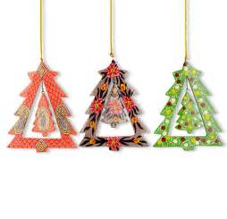 set of 3 christmas tree wood ornaments ebay