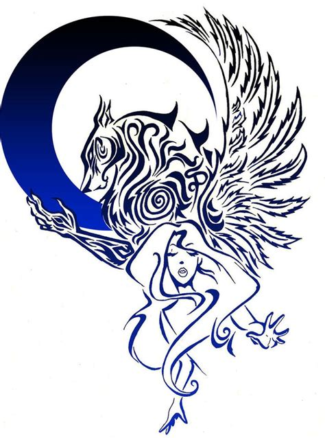 blue moon and wolf tattoo design tattoo designs