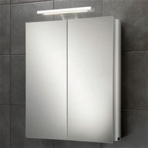 atomic mirrored bathroom cabinet with lights aluminium