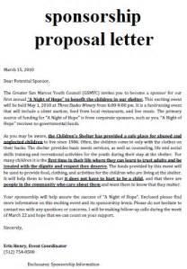 business letter sponsorship letter