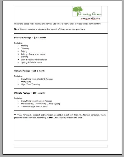 Landscape Bid Template sles of lawn care quotes quotesgram