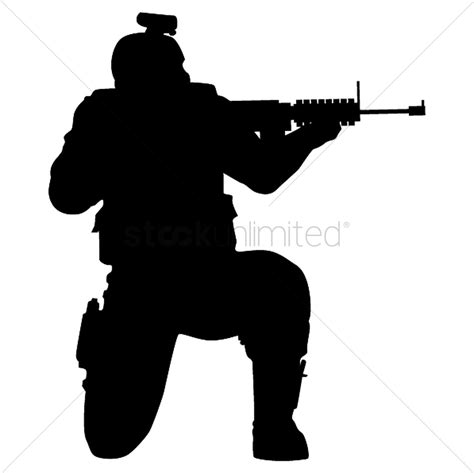 silhouette of soldier shooting with gun vector image
