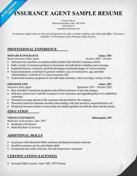 Resume Sles With Licenses Insurance Resume Sle Resume Sles Across All Industries Resume Exles