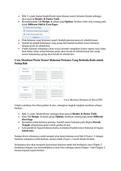 cara membuat halaman di word 2007 berurutan cara membuat halaman di word 2007