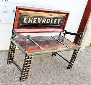 chevrolet truck tailgate bench rustic furniture by