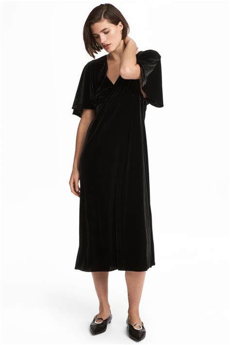 Velour Dress   Black   SALE   H&M US