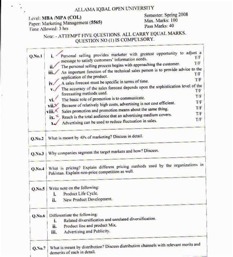 Aiou Col Mba Admission Test by Marketing Management Papers