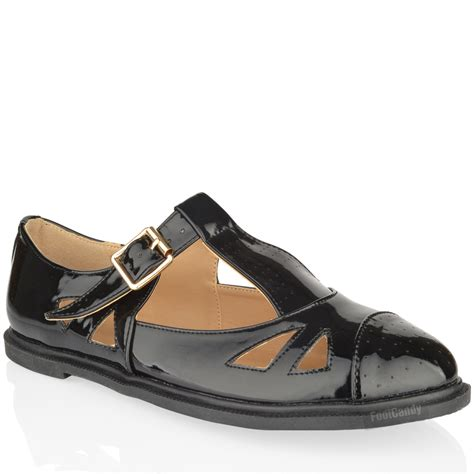 Flat Shoes Wanita Black Synt 295 womens flat cut out gold buckle t bar pumps shoes size ebay