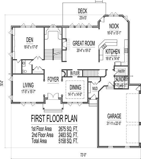 Multi Family House Plans Apartment by 5000 Sq Ft House Floor Plans 5 Bedroom 2 Story Designs