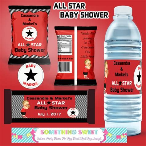 Diy Pdf File Only All Star Themed Printable Party Set Chip Bags Food Tents Water Bottles By Chip Label Template