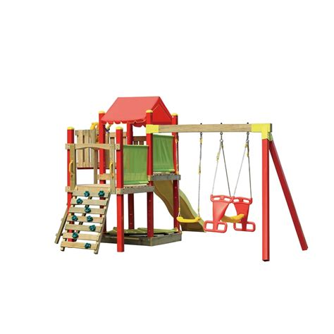 swing sets bunnings swing slide climb camelot multi play playground i n
