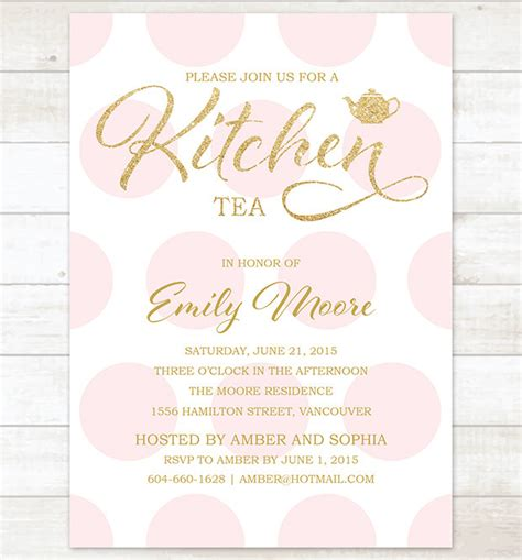kitchen tea party invitation ideas gold pink kitchen tea invitation pink polka dots gold glitter
