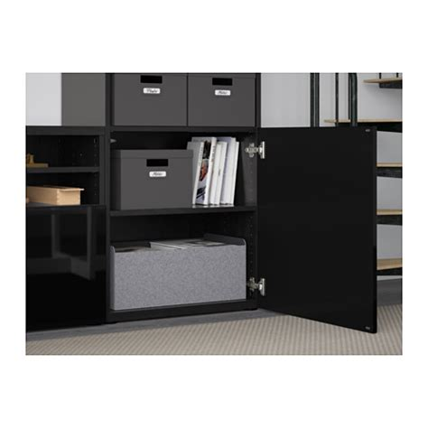 ikea besta black gloss best 197 tv storage combination glass doors black brown