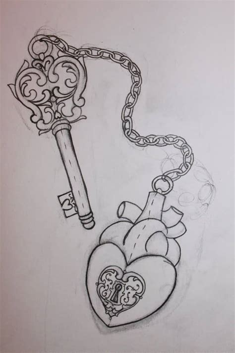 heart chain tattoo designs lock designs www pixshark images galleries