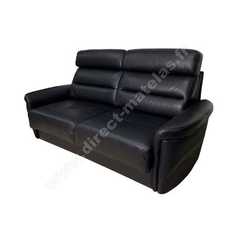 canap 233 convertible d m lotus cuir noir