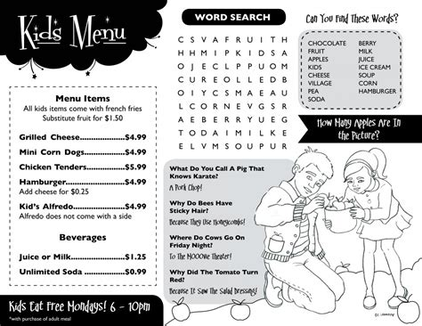 kid menu template menu template www imgkid the image kid has it