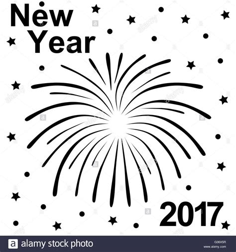 happy new year 2017 text happy new year 2017 text and fireworks silhouette stock
