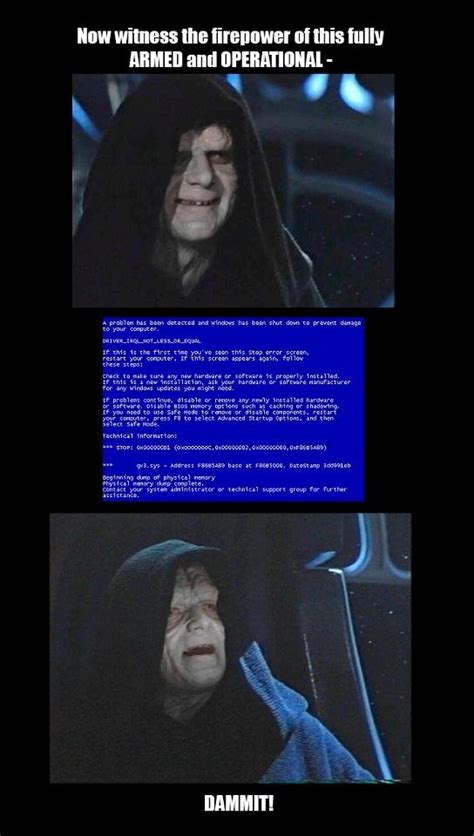 Star Wars Emperor Meme - emperor palpatine star wars tech support meme