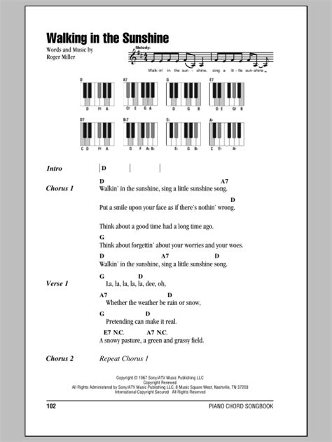 england swings chords walking in the sunshine sheet music direct