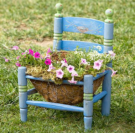 Small Planter Ideas by Garden Chair Planters Decorating Ideas