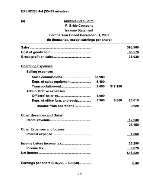 statement layout template year to year income statement template pdf exle vlashed