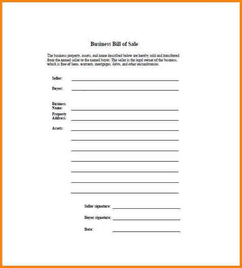 Free Sle Business Template 7 business bill of sale form free simple bill