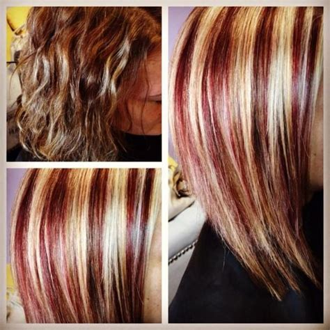 What Red Highlights Look Like In Blonde Streaked Hair | strawberry blonde hair best list of red and blonde hair