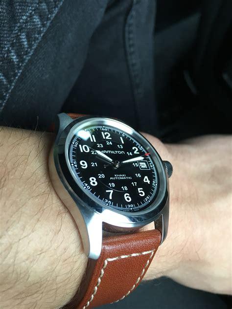 Rugged Leather Men S Hamilton Khaki Field 38mm Automatic Watch H70455533